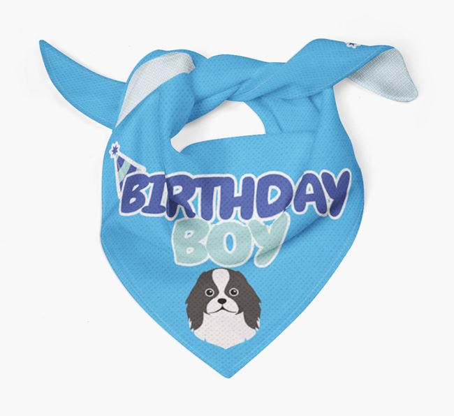 'Birthday Boy' Bandana with Japanese Chin Icon