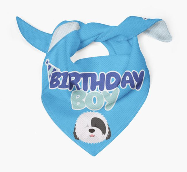 'Birthday Boy' Bandana with Old English Sheepdog Icon