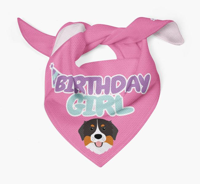 'Birthday Girl' Bandana with Bernese Mountain Dog Icon