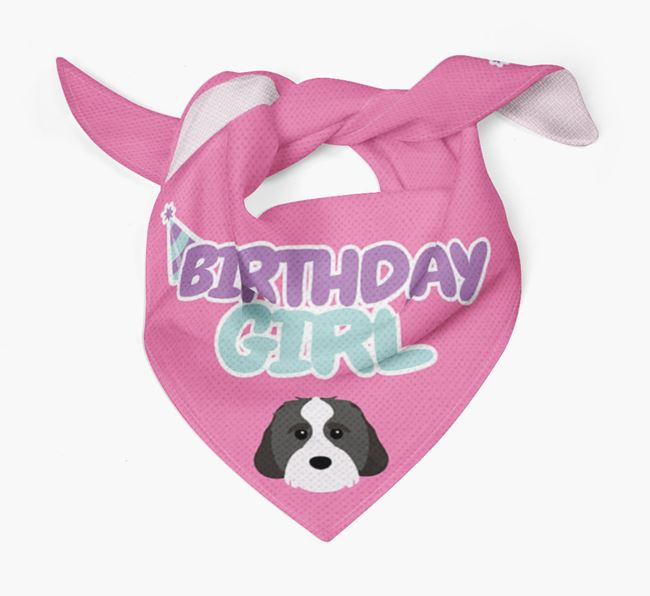 'Birthday Girl' Bandana with Cavachon Icon