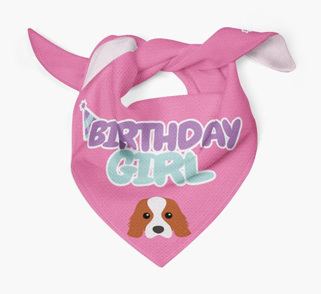 'Birthday Girl' Bandana with Cavalier King Charles Spaniel Icon