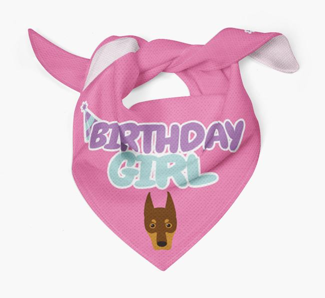 'Birthday Girl' Bandana with Dobermann Icon