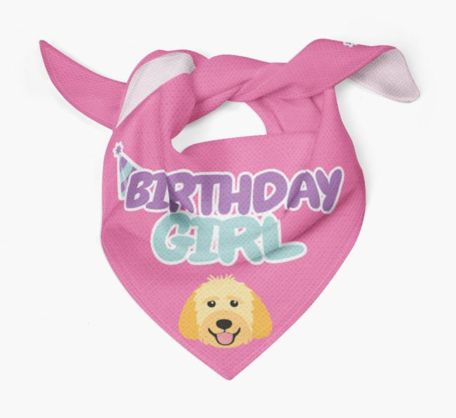 'Birthday Girl' Bandana with Goldendoodle Icon