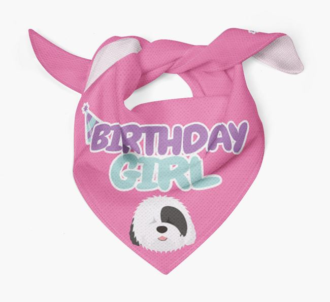 'Birthday Girl' Bandana with Old English Sheepdog Icon