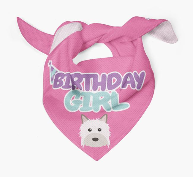 'Birthday Girl' Bandana with Powderpuff Chinese Crested Icon