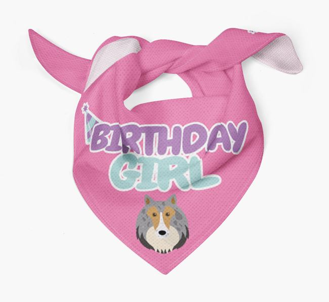 'Birthday Girl' Bandana with Rough Collie Icon