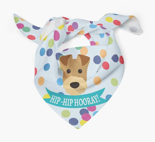 'Hip-Hip Hooray!'' Bandana with Airedale Terrier Icon