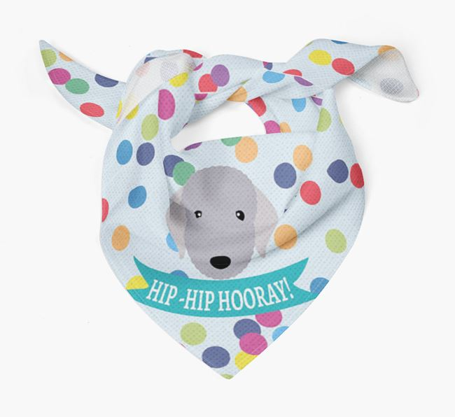 'Hip-Hip Hooray!'' Bandana with Bedlington Terrier Icon