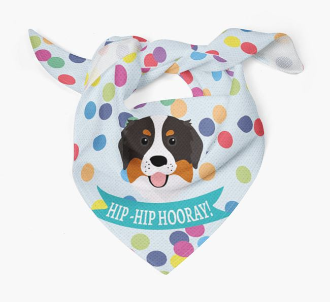 'Hip-Hip Hooray!'' Bandana with Bernese Mountain Dog Icon