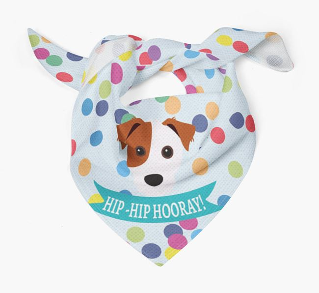 'Hip-Hip Hooray!'' Bandana with Jack Russell Terrier Icon