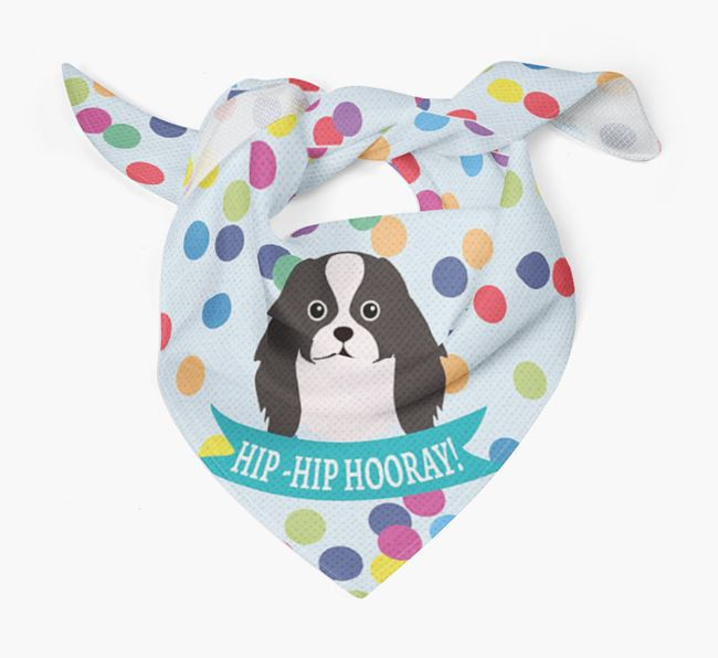 'Hip-Hip Hooray!'' Bandana with Japanese Chin Icon