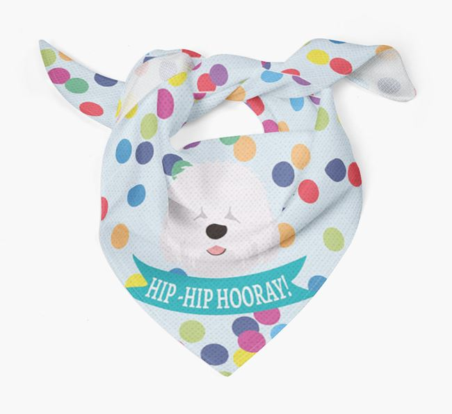 'Hip-Hip Hooray!'' Bandana with Old English Sheepdog Icon