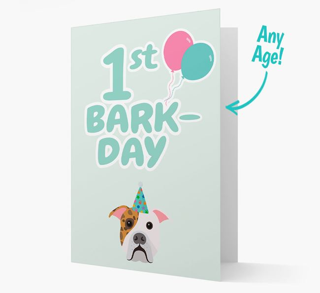 'Ages 1-18' Bark-day Card with American Bulldog Icon