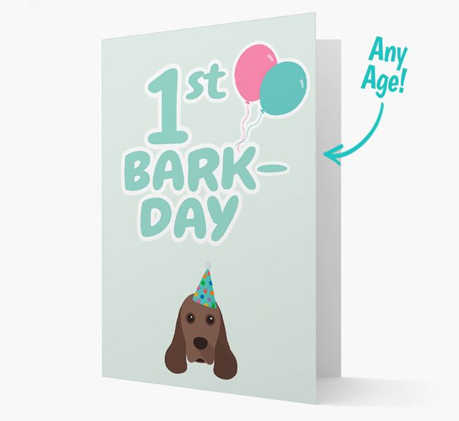 'Ages 1-18' Bark-day Card with American Cocker Spaniel Icon