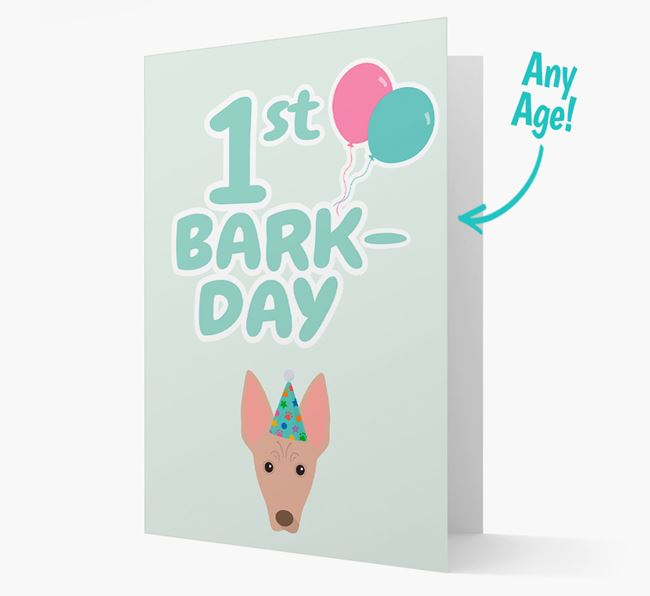'Ages 1-18' Bark-day Card with American Hairless Terrier Icon