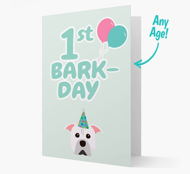 'Ages 1-18' Bark-day Card with American Pit Bull Terrier Icon