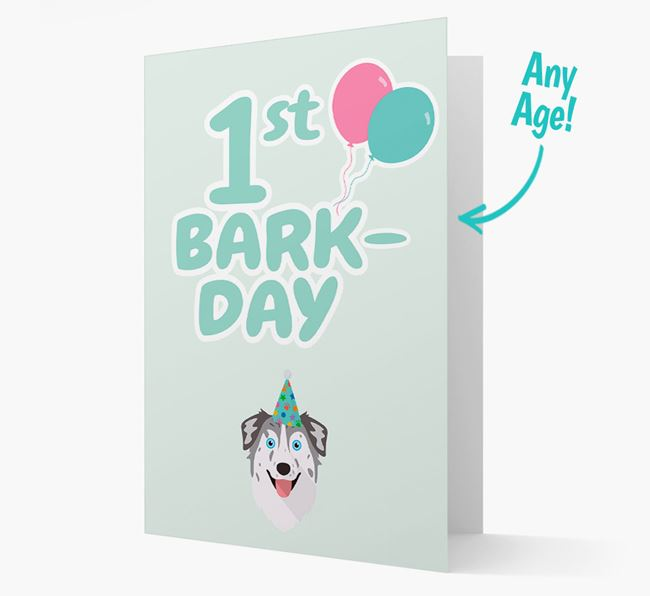 'Ages 1-18' Bark-day Card with Australian Shepherd Icon