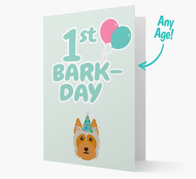 'Ages 1-18' Bark-day Card with Australian Silky Terrier Icon