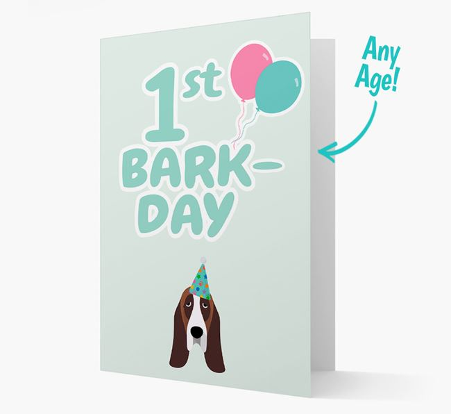 'Ages 1-18' Bark-day Card with Basset Hound Icon