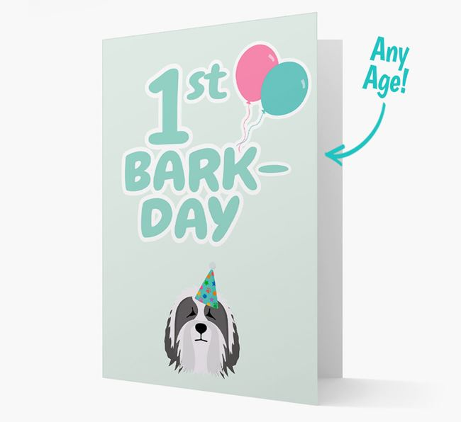 'Ages 1-18' Bark-day Card with Bearded Collie Icon