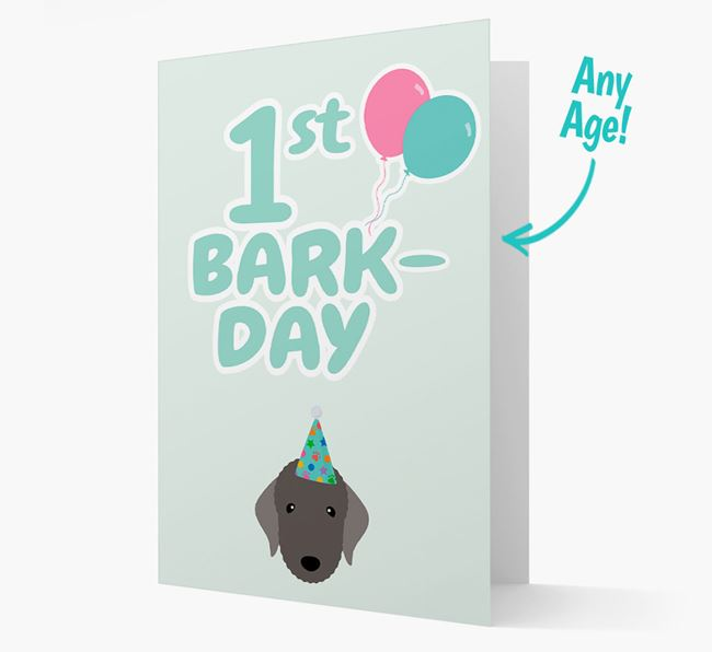 'Ages 1-18' Bark-day Card with Bedlington Terrier Icon