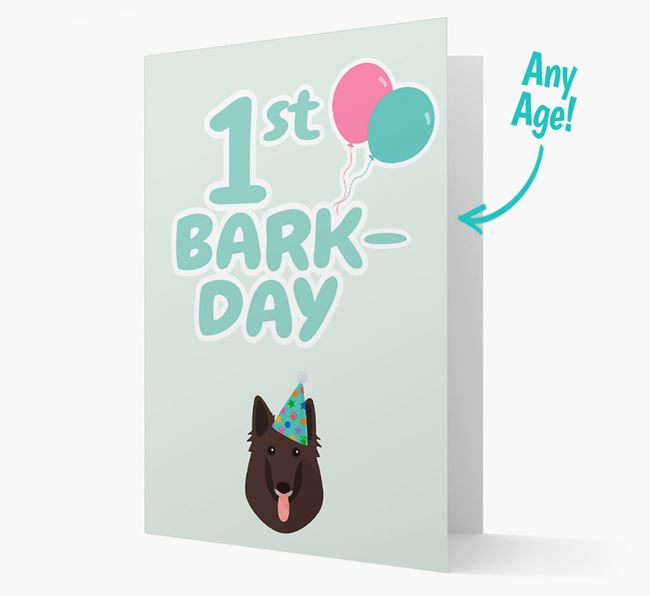 'Ages 1-18' Bark-day Card with Belgian Groenendael Icon
