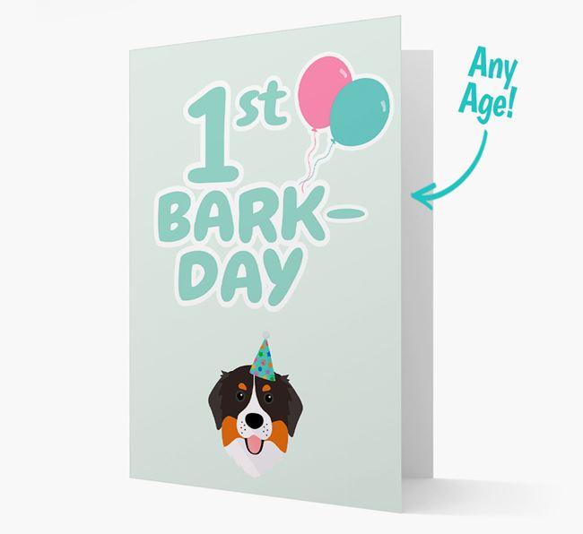 'Ages 1-18' Bark-day Card with Bernese Mountain Dog Icon
