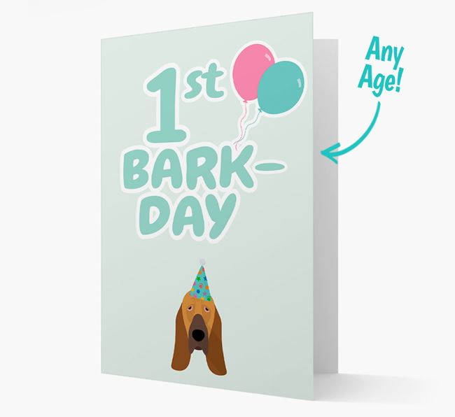 'Ages 1-18' Bark-day Card with Bloodhound Icon