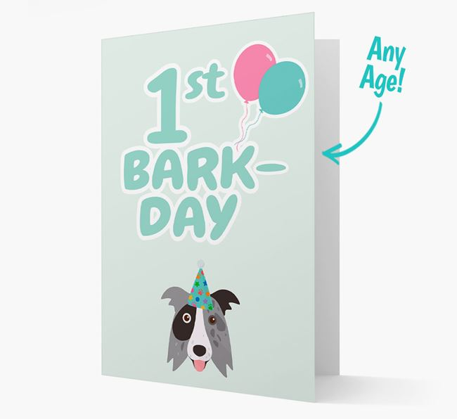 'Ages 1-18' Bark-day Card with Border Collie Icon