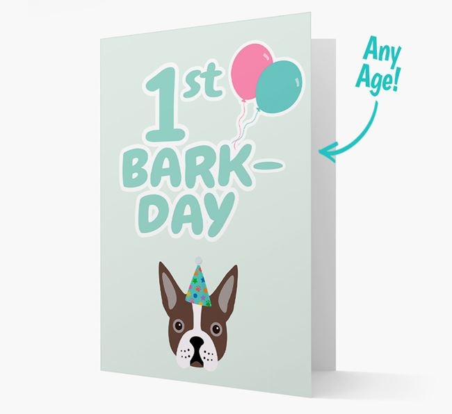 'Ages 1-18' Bark-day Card with Boston Terrier Icon