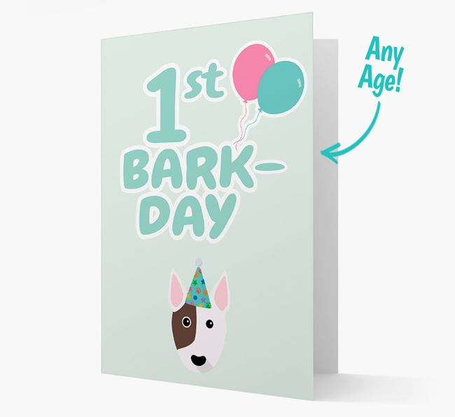 'Ages 1-18' Bark-day Card with Bull Terrier Icon