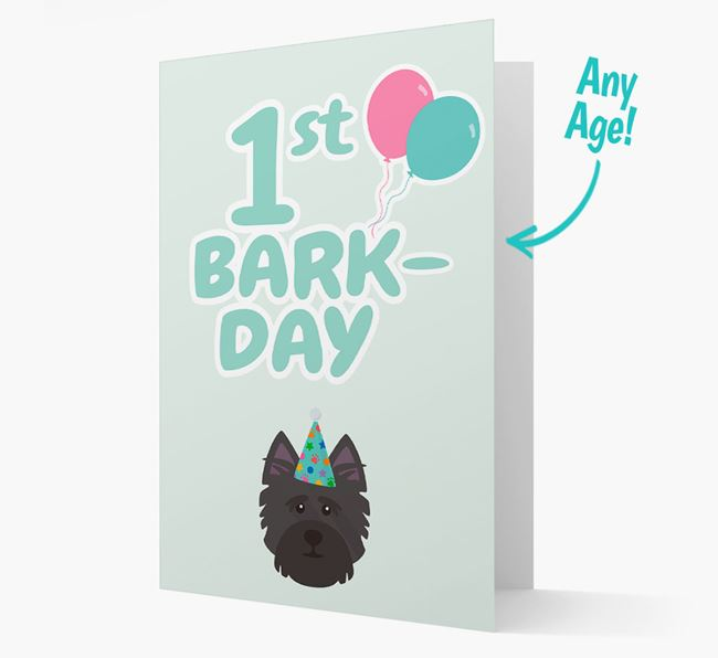 'Ages 1-18' Bark-day Card with Cairn Terrier Icon