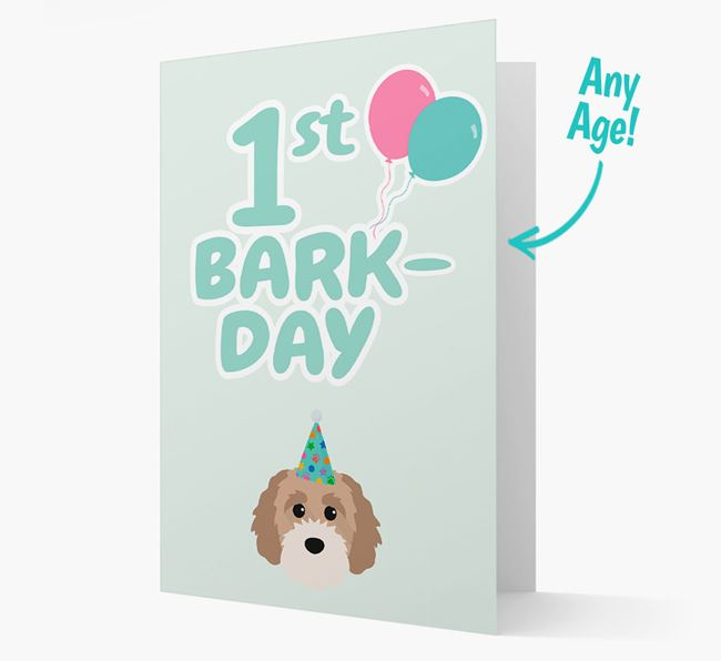 'Ages 1-18' Bark-day Card with Cavapoochon Icon
