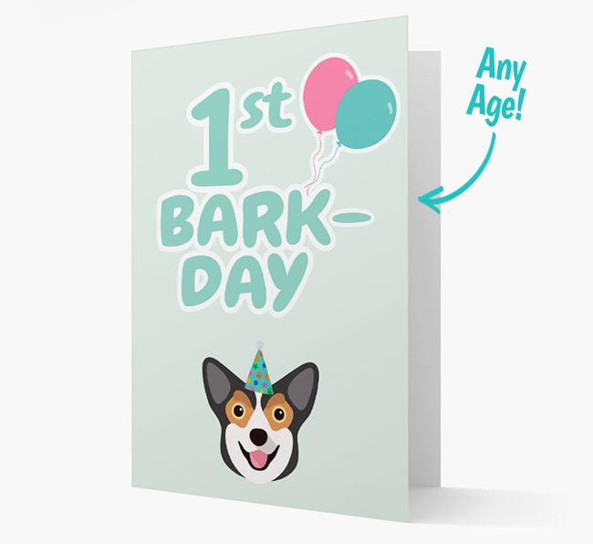 'Ages 1-18' Bark-day Card with Corgi Icon