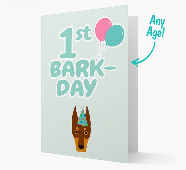 'Ages 1-18' Bark-day Card with Dobermann Icon