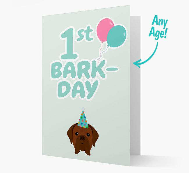 'Ages 1-18' Bark-day Card with Dogue de Bordeaux Icon