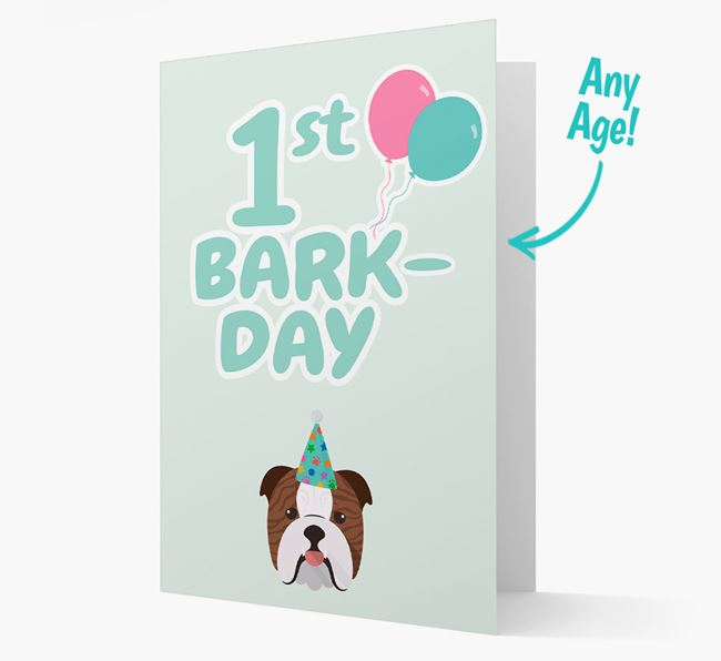 'Ages 1-18' Bark-day Card with English Bulldog Icon
