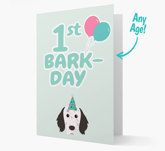 'Ages 1-18' Bark-day Card with English Setter Icon