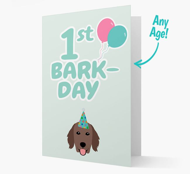 'Ages 1-18' Bark-day Card with Flat-Coated Retriever Icon
