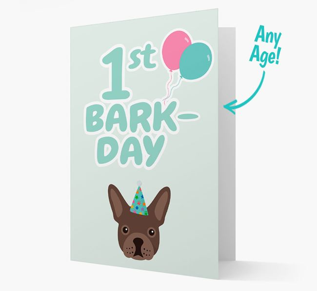 'Ages 1-18' Bark-day Card with French Bulldog Icon