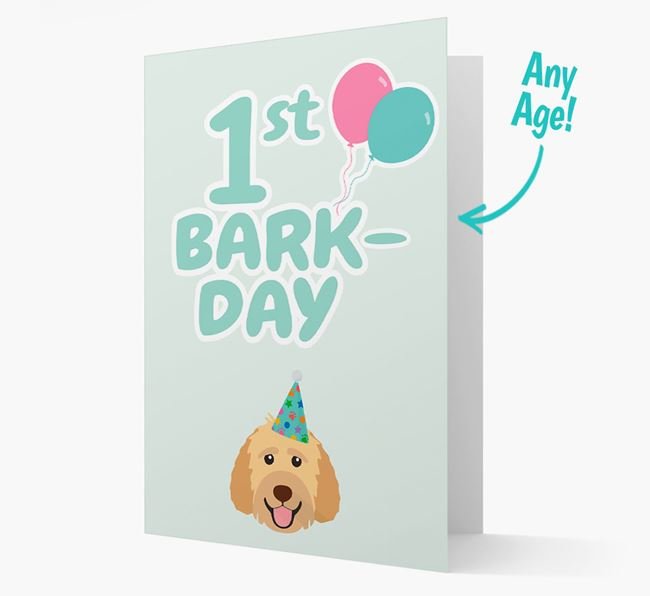 'Ages 1-18' Bark-day Card with Goldendoodle Icon