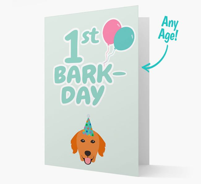 'Ages 1-18' Bark-day Card with Golden Retriever Icon