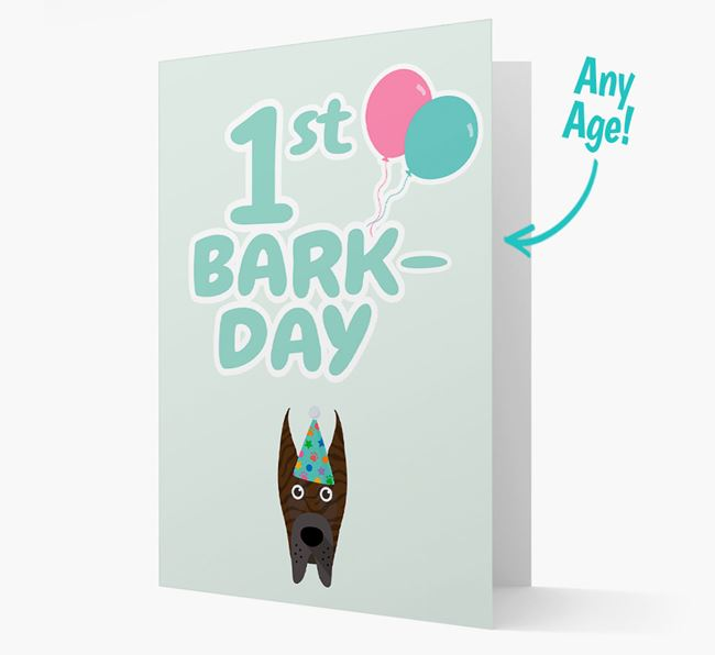 'Ages 1-18' Bark-day Card with Great Dane Icon