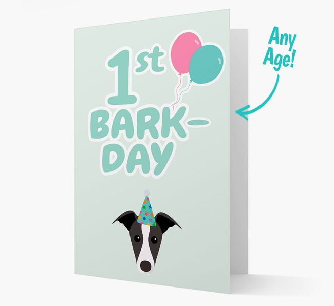 'Ages 1-18' Bark-day Card with Greyhound Icon