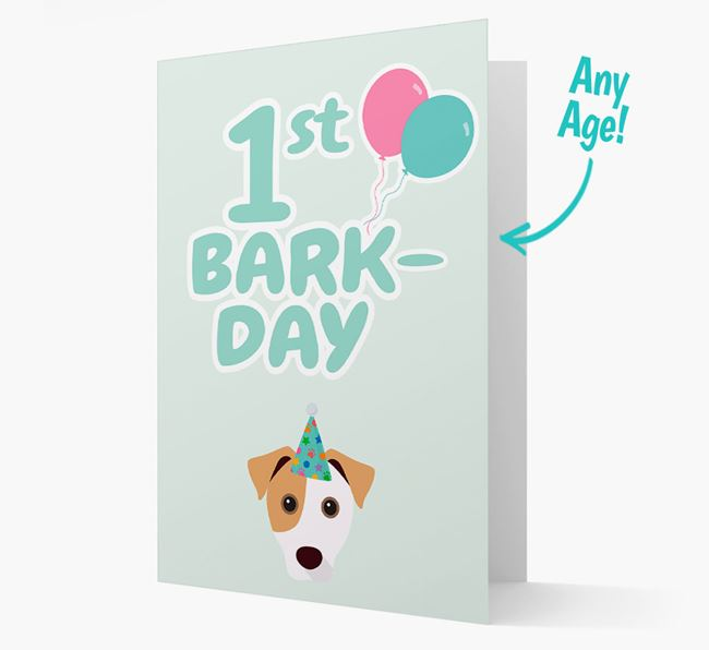 'Ages 1-18' Bark-day Card with Jack Russell Terrier Icon