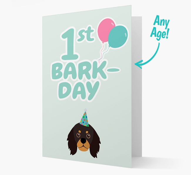 'Ages 1-18' Bark-day Card with King Charles Spaniel Icon