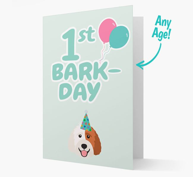 'Ages 1-18' Bark-day Card with Labradoodle Icon