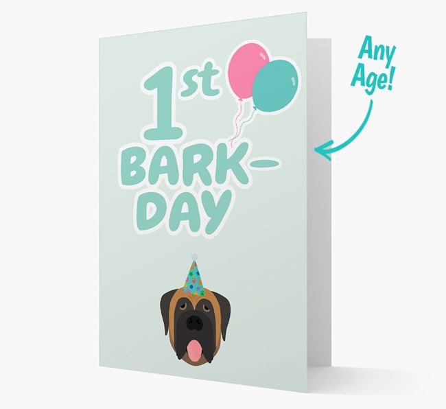 'Ages 1-18' Bark-day Card with Mastiff Icon