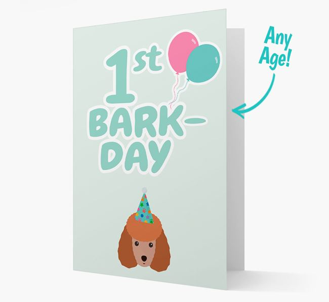 'Ages 1-18' Bark-day Card with Miniature Poodle Icon