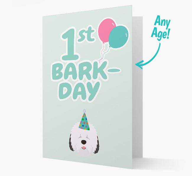 'Ages 1-18' Bark-day Card with Old English Sheepdog Icon